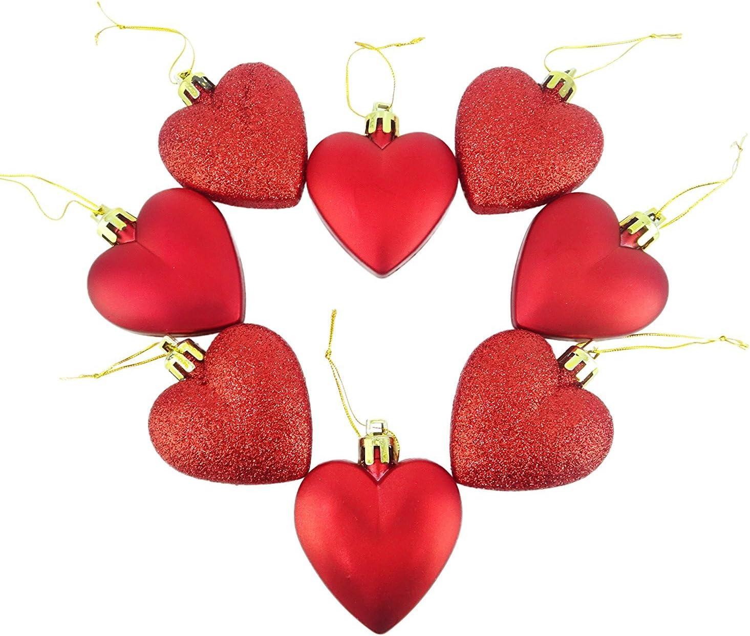 Shatterproof Heart Ornaments 8-10 Count