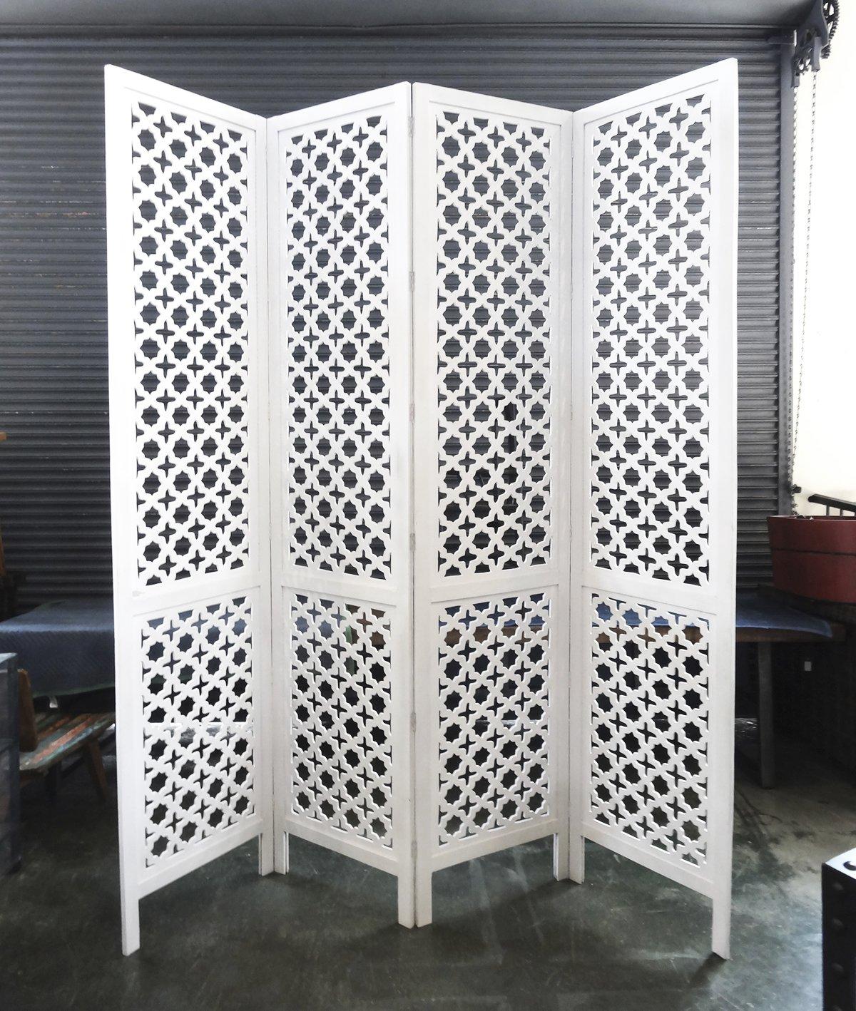 Carved Wood Work White Screen / Room Devider