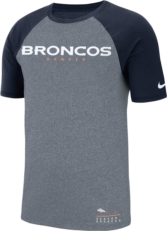 Nike Mens Denver Broncos Heathered Navy Fan Gear Marled Raglan Performance T-Shirt