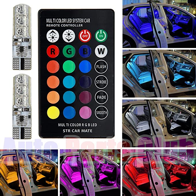 TUINCYN T10 W5W 194 LED Bulb 6 SMD 5050 RGB Chips Car Remote Control Wireless LED Bulbs Color-Changing Car Interior Dome Lights Exterior Side Markers Plate License Lights 1 Set
