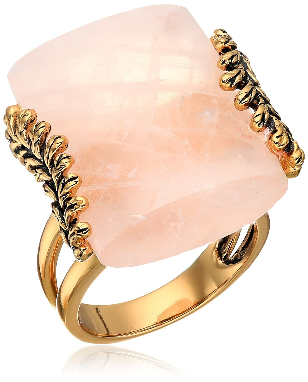 Barse Rose Quartz Statement Gold-Tone Bronze Double Band Ring