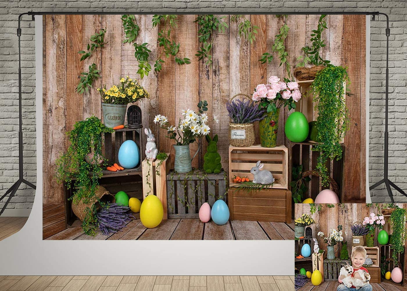 Kate 7x5ft Easter Day Photography Backdrops Wooden Wall and Wood Floor Rabbit Bunny Backgrounds Photo Studio Spring Garden Flowers Decor Backdrop Props