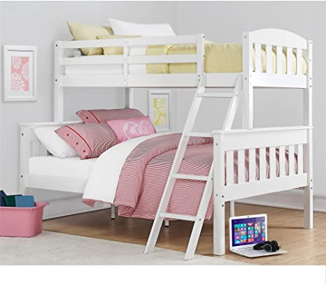 Amazon Com Dorel Living Airlie Solid Wood Bunk Beds Twin Over Full With Ladder And Guard Rail White Furniture Decor