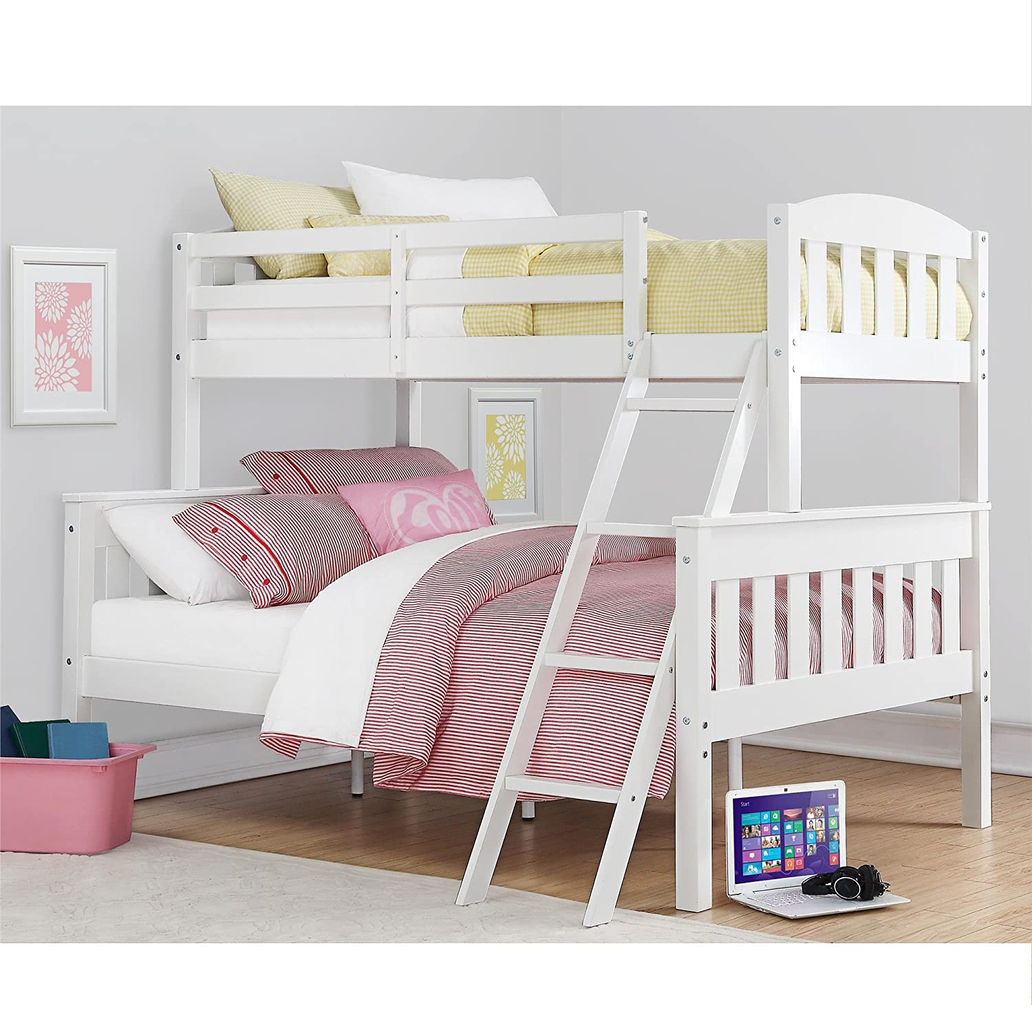 amazoncom dorel living dorel living airlie twin over full bunk bed white kitchen u0026 dining