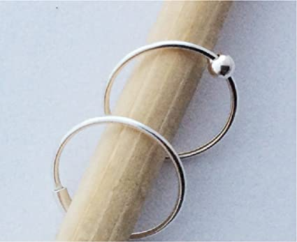 Amazon Com Nose Rings 10mm 22 Gauge Sterling Silver Set Of Two Captive Bead And Plain Hoop Lip Eyebrow Body Piercing Arts Crafts Sewing