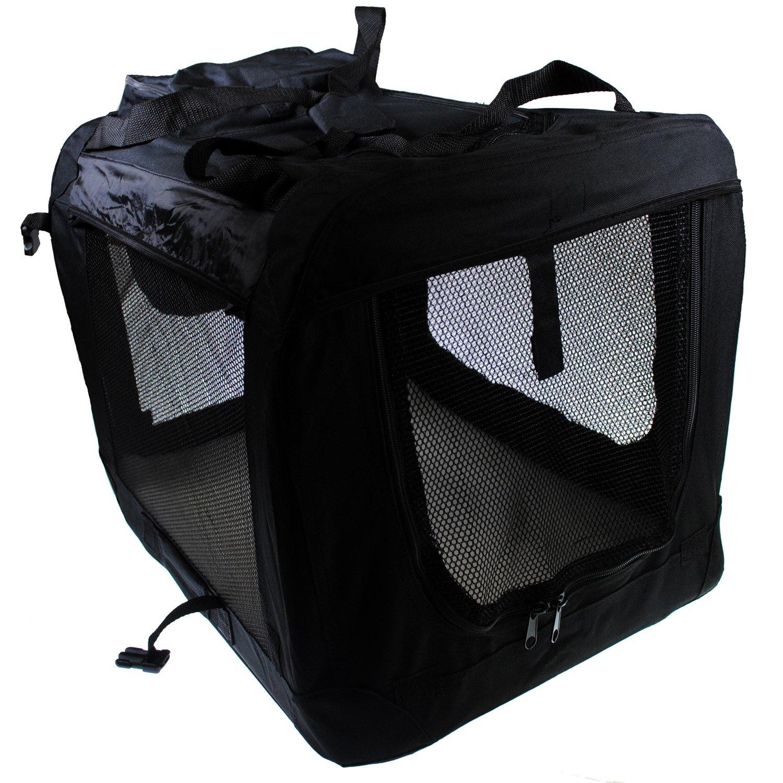 Shop4Omni 24X16X16 Indoor/Outdoor Portable Dog Crate w Mat (Black)