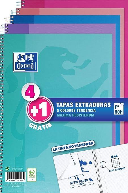 Oxford - Pack de 5 cuadernos (tapa extradura, 80 hojas, cuadrícula ...