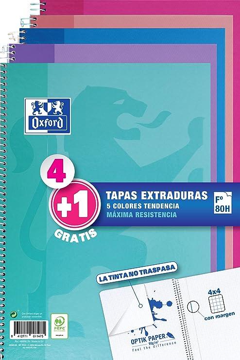 Oxford - Pack de 5 cuadernos (tapa extradura, 80 hojas, cuadrícula 4x4 con margen) Rosa Chicle/Ice Mint/Malva/Fucsia/Turquesa: Amazon.es: Oficina y papelería