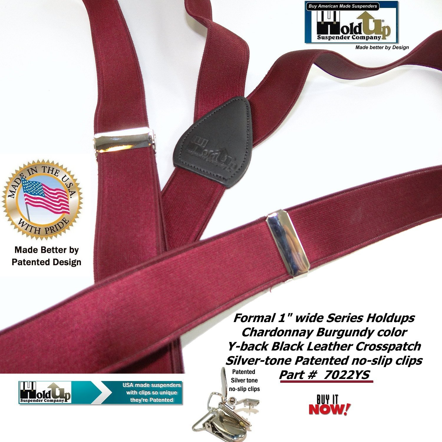 3fb385ebdee Holdup Suspender Company s Y-back Formal Series Chardonnay Burgundy Wine  Colored Men s Suspenders with Silver No-Slip Clips at Amazon Men s Clothing  store