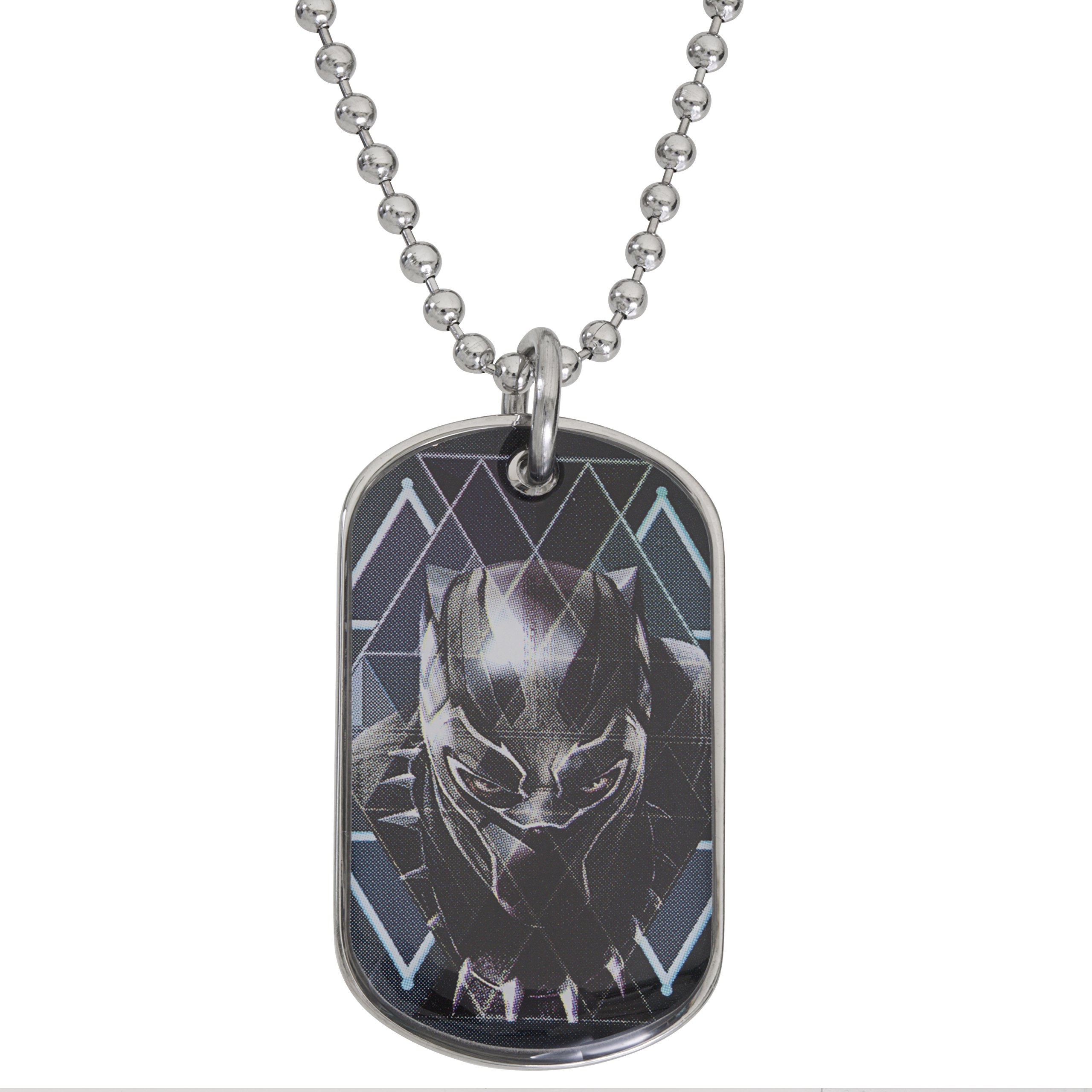 Marvel Black Panther Boys Stainless Steel Dog Tag Pendant, 20''