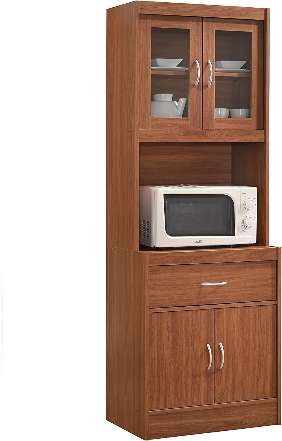 Hodedah Long Standing Kitchen Cabinet with Top & Bottom Enclosed Cabinet  Space, One Drawer, Large Open Space for Microwave, Cherry