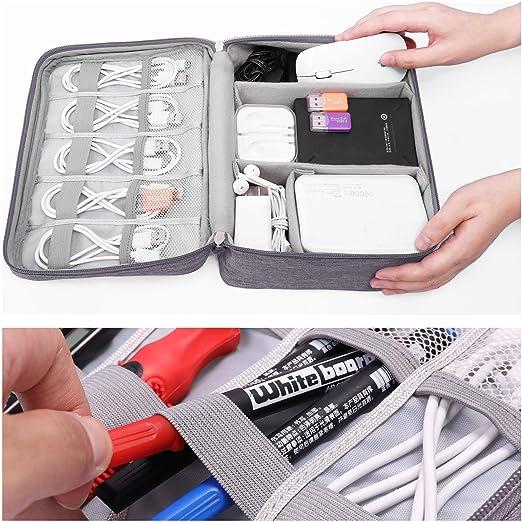 WHT Impermeabile Organizer Elettronica Borsa per Accessori Batteria Gadget Cavo in Viaggio e Conservazione Grigio