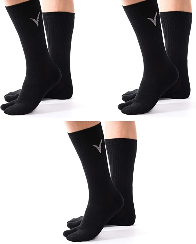 V-Toe Flip-Flop Socks Tabi Big Toe Thicker Athletic Cotton Blend Mens and Womens Functional Fashionable Socks 3 Packs