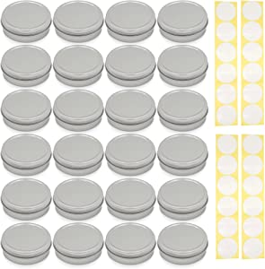 SimbaLux Screw Top Round Steel Tin Cans 2 oz (60ml) with Self Adhesive White Round Stickers, 24 Pack