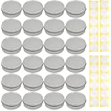 [24 Pack] Screw Top Round Steel Tin Cans 2 oz (60 ml) by SimbaLux with Self Adhesive White Round Stickers