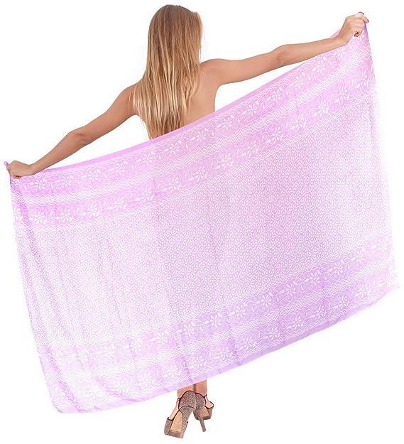 a77f053126 LA LEELA Sheer Chiffon Scarf Long Dress Women Sarong Printed  88 quot X42 quot  Violet 748