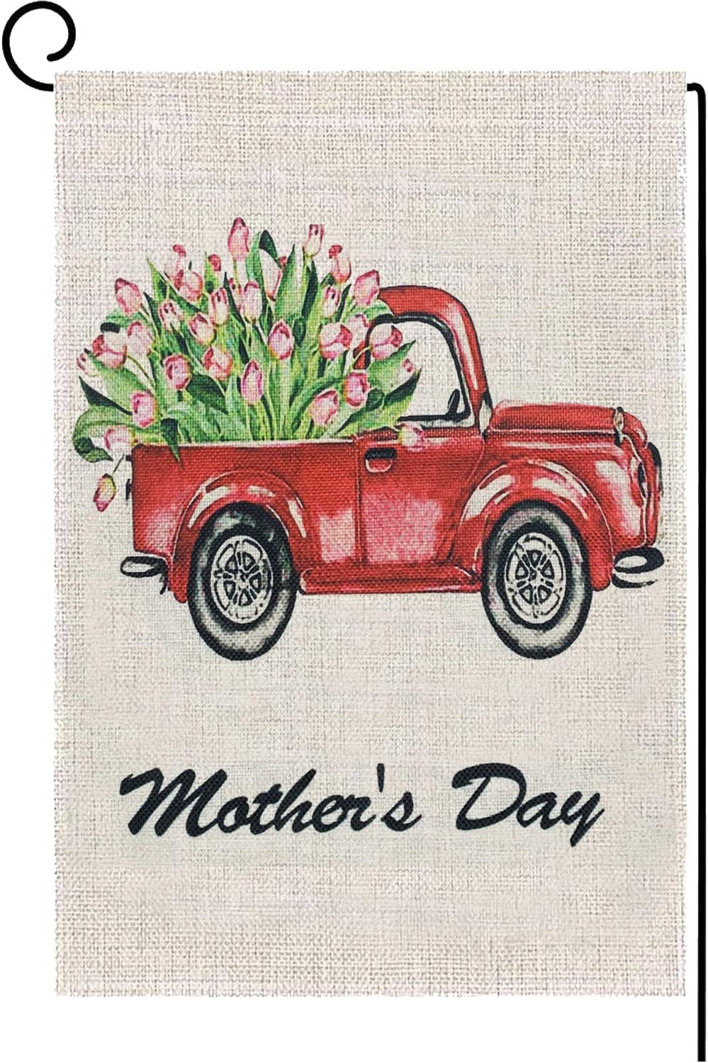 Iceyyyy Love Mother's Day Garden Flag - Double Sided Home Decorative Tulips Flower House Red Truck Yard Burlap Banner (Mother's Day)