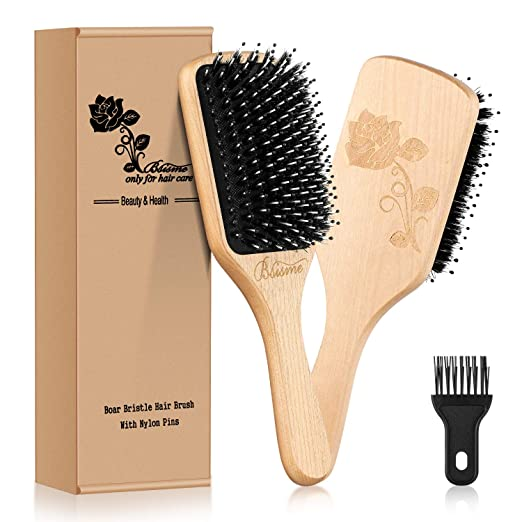 Hair Brush-[Upgraded] Boar Bristle Hair Brush with Detangling Pins for Thick Curly Long Dry or Wet Hair,Natural Wooden Paddle Detangler Brush for Women Men Add best hairbrushesng Shine,Hair Brush Cleaner Included