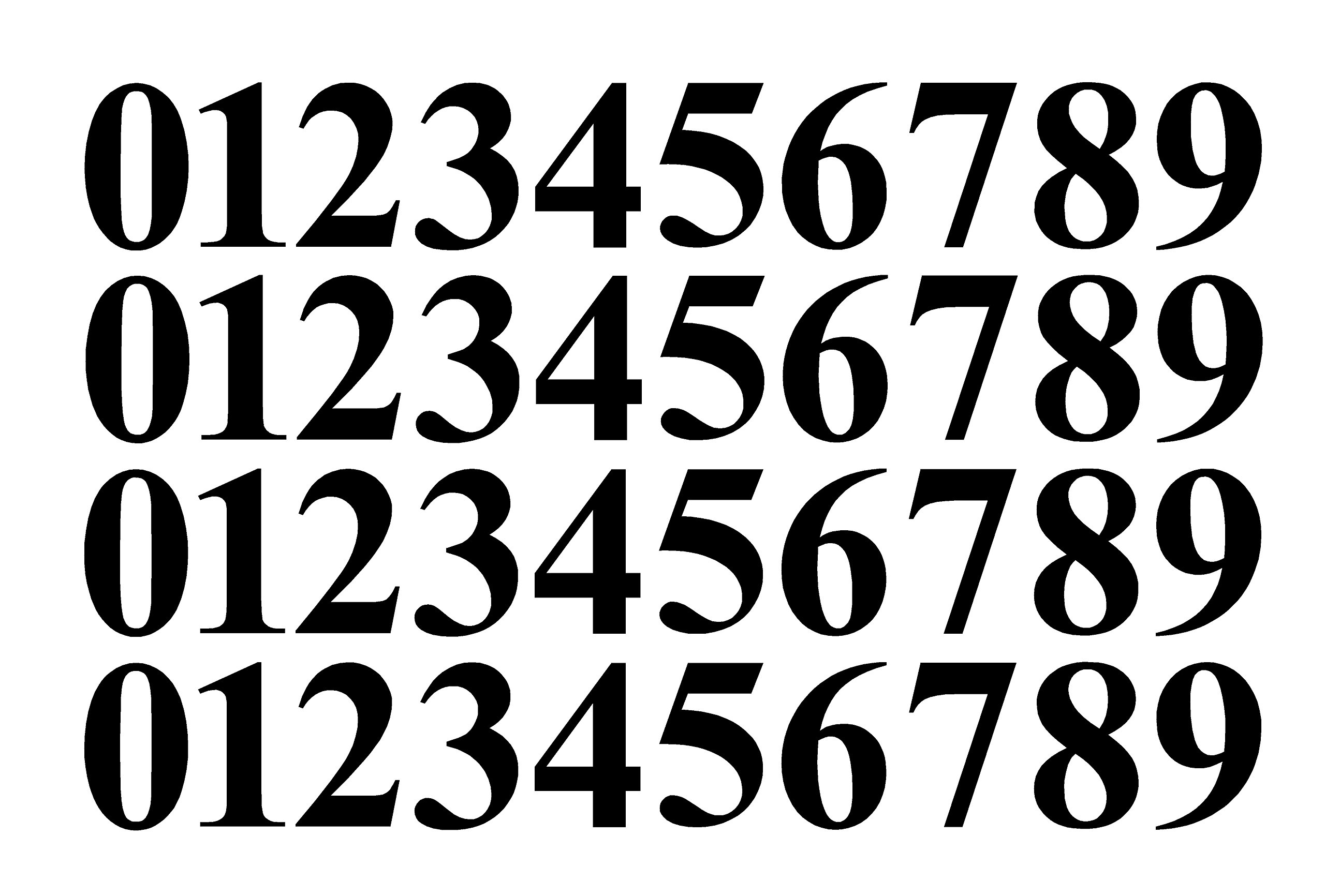 0-9 Numbers Black Vinyl Sticker Decals Assorted Set of 40 Choose Size!! 1'' to 12'' (V646BlackTimes) (2.5'')