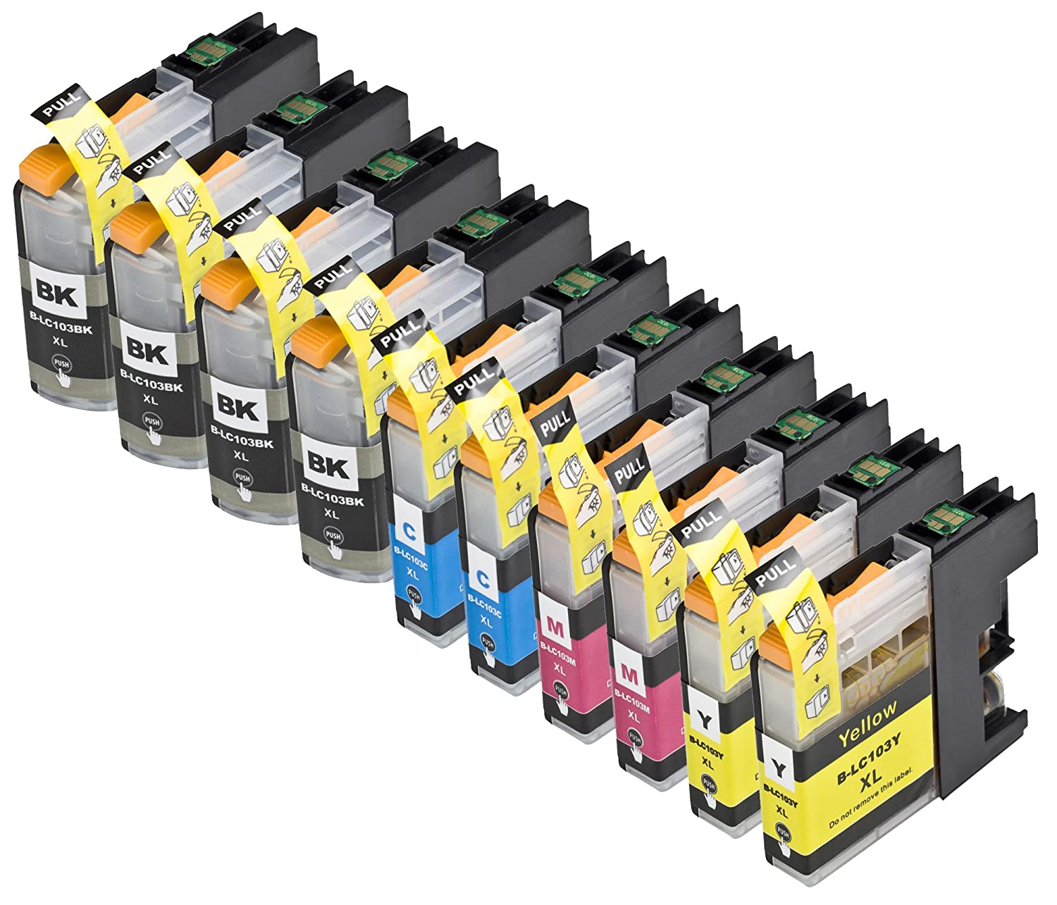 10 Pack Compatible Brother LC101 , LC103 4 Black, 2 Cyan, 2 Magenta, 2 Yellow for use with Brother DCP-J152W, MFC-J245, MFC-J285DW, MFC-J4310DW, MFC-J4410DW, MFC-J450DW, MFC-J4510DW, MFC-J4610DW, MFC-J470DW, MFC-J4710DW, MFC-J475DW, MFC-J650DW, MFC-J6520DW