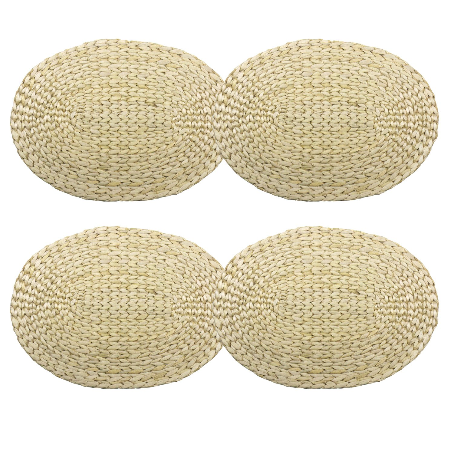 Handmade Oval Braided Natural Straw Placemats Set of 4 - ChristmasTablescapeDecor.com