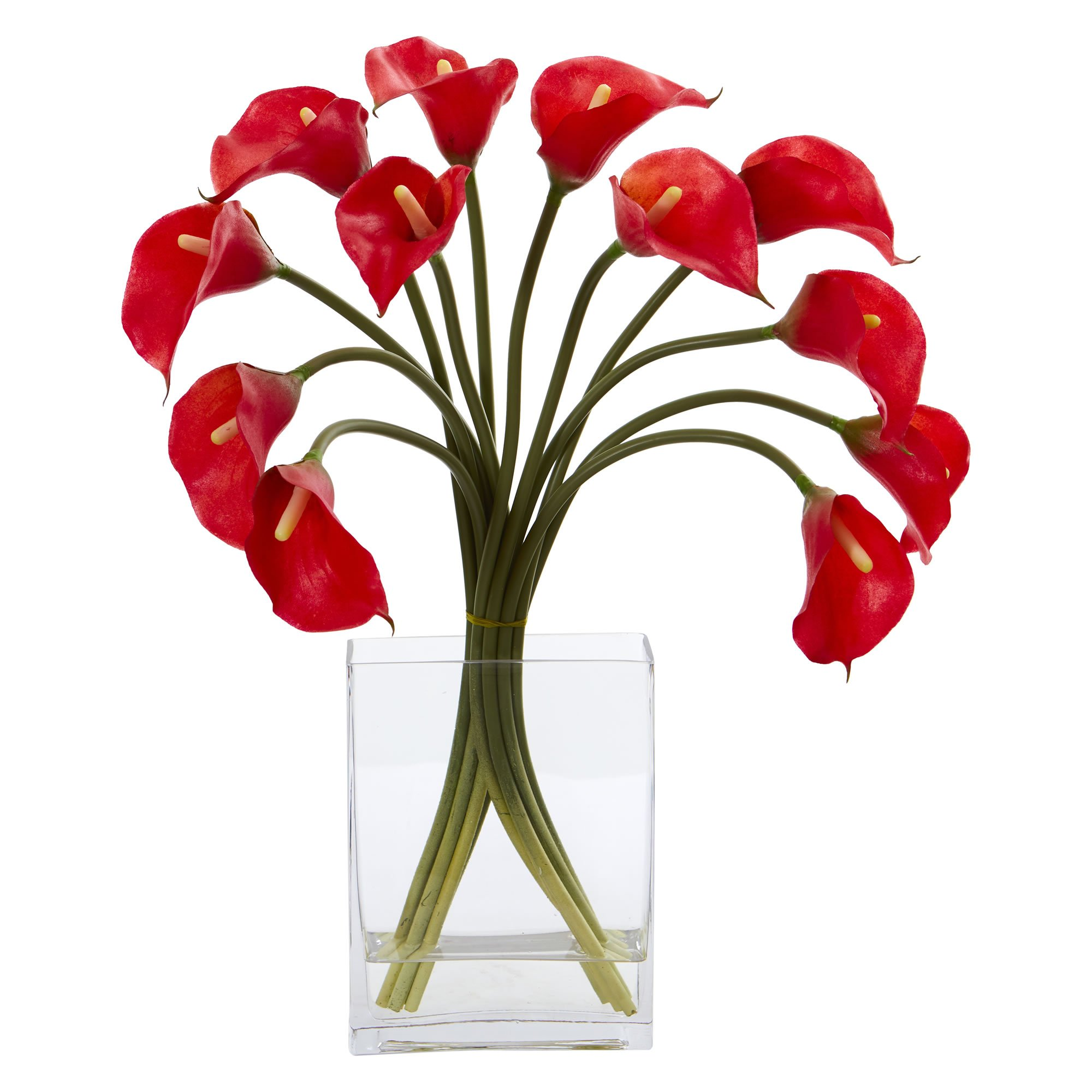 Nearly Natural 1608-RD Calla Lily Artificial Vase Silk Arrangements, Red by Nearly Natural