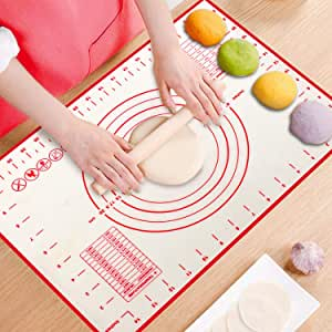 ProAussie Large Silicone Baking Mat for Rolling Dough (40cmx60cm) Pastry Mat with Measurements Extra Thick Non Stick Fondant Mat, Counter Mat, Oven Liner, Pie Crust Mat - Perfect Baking Tool for Making Bread, Cake & other Desserts