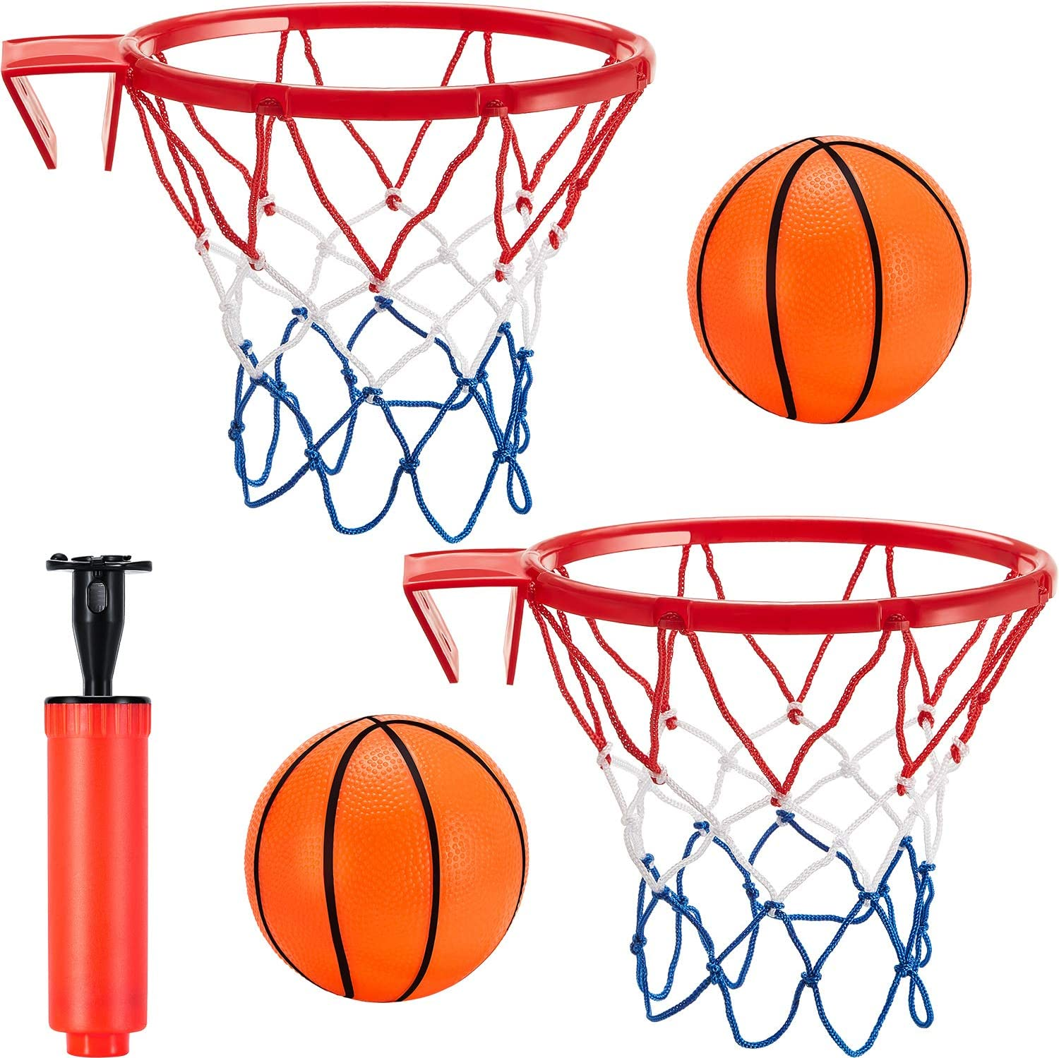 5 Pieces Mini Basketball Hoop Set, Includes 2 Pieces Toy Basketball Hoop Net, 2 Pieces Mini Inflatable Basketball and Inflation Pump for Bedroom Bathroom Toilet Office Desktop Basketball Game Favors
