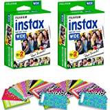 Fujifilm Instax Wide Instant Film for Fuji Instax Wide 210 200 100 300 Instant Photo Camera + 40 assorted colorful pattern stickers (40 Films)