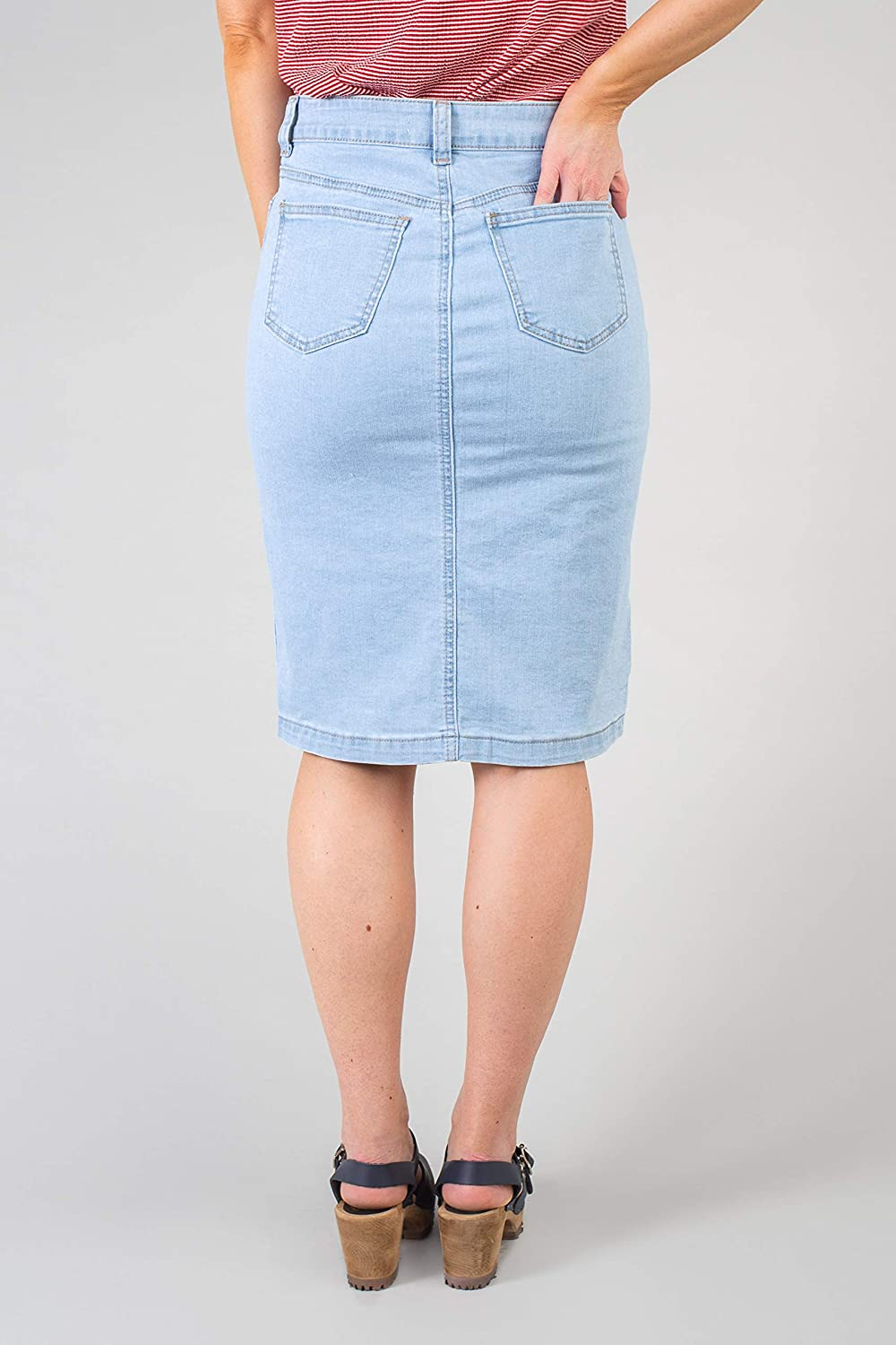 The Kora Mid to High Waisted Extremely Comfy Knee Length Stretchy Functioning Button-Up Denim Jean Skirt with Pockets Light Denim