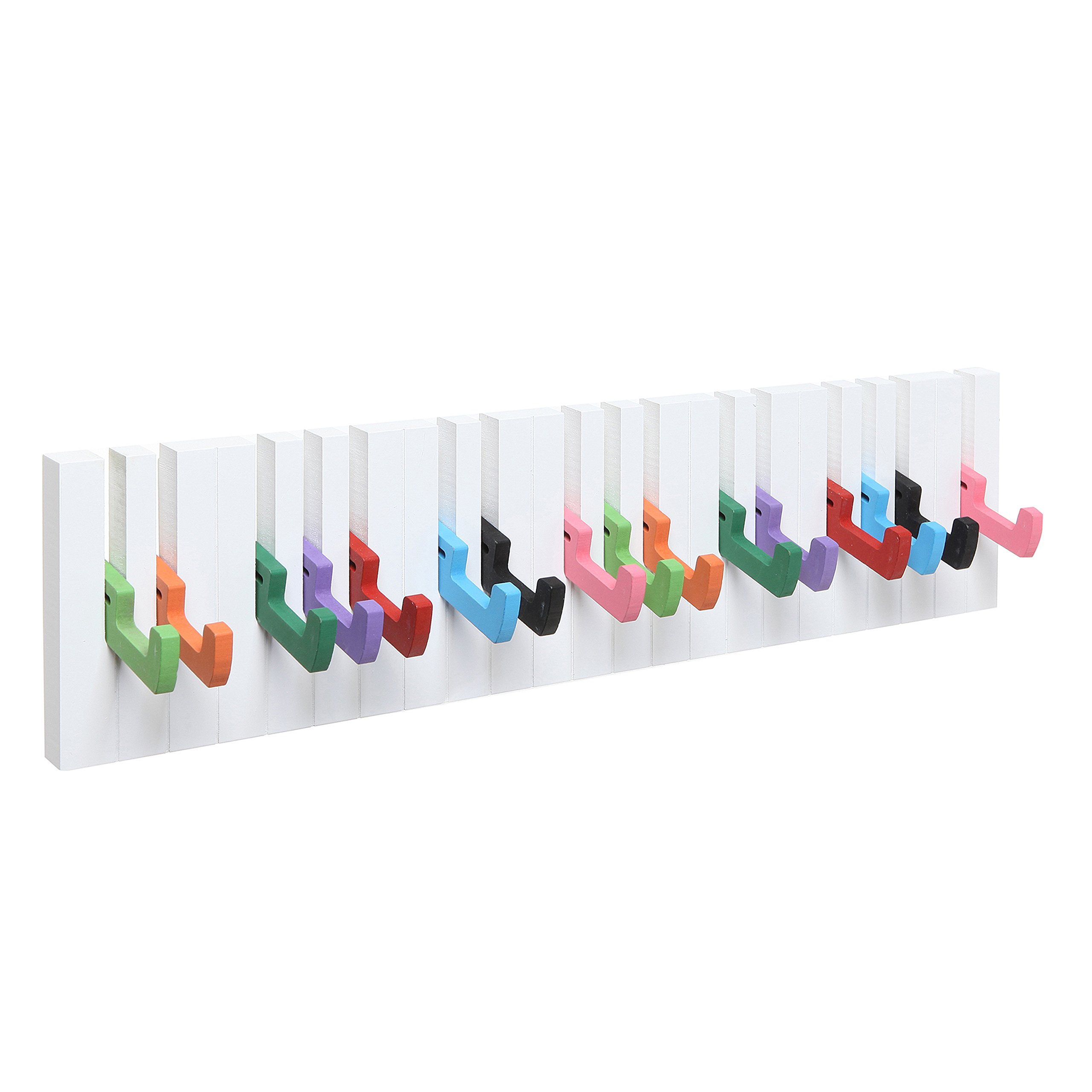 Decorative Multicolor Piano Design Wood Wall Mounted Coat Hooks / 16 Hook Storage Utility Rack - MyGift