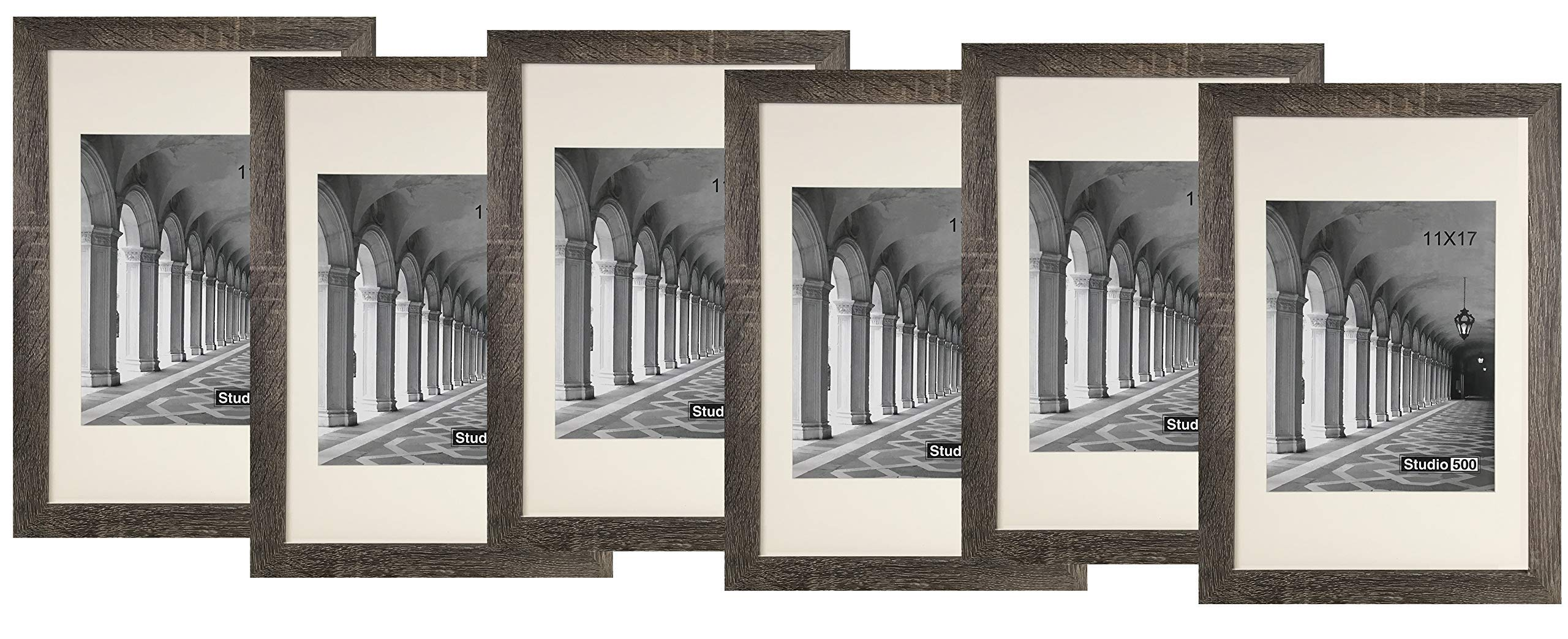 Studio 500 Distressed 11 by 17-inch Grey Picture Frames from Our Distressed Collection (MDF2915) Grey, 6-Pack, Comes in Different Sizes (11x17)