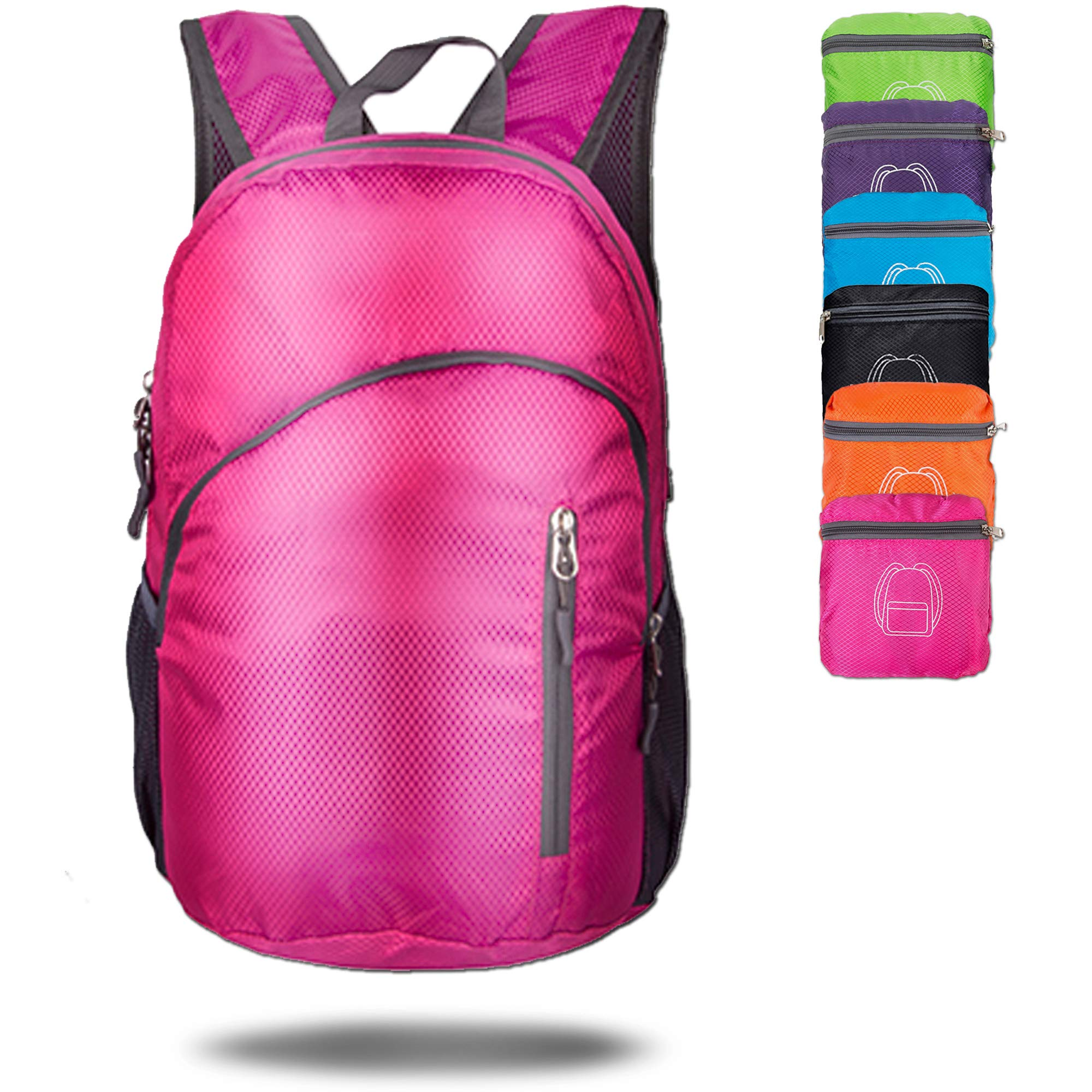 MODARANI Small 20L Rose Red Foldable Travel Daypack Packable Backpack for Women Hiking Camping Beach Outing