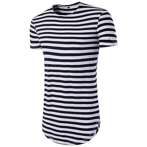 internet Hombres Rayas Manga Corta Casual Camiseta Blusa (S, Armada)