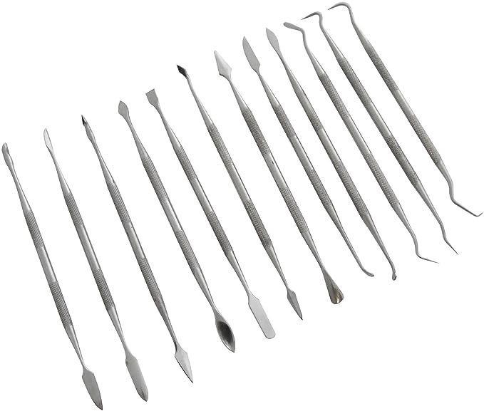 Am-Tech Set de 12 outils en acier inoxydable pour sculpture de cire (Import Grande Bretagne)