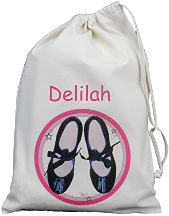 Personalised - Tap Dance Shoe Bag - Small Natural Cotton ...