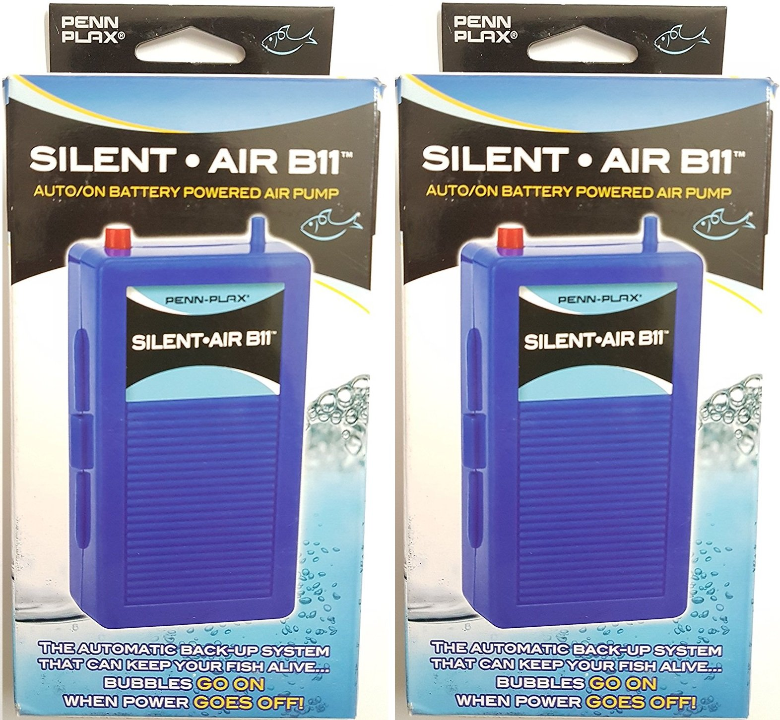 (2 Pack) Silent Air B11 Battery Operated Aquarium Air Pump For Power Outage Automatic Turn On Keeps Fish Safe Up to 29 Gallons by Penn Plax