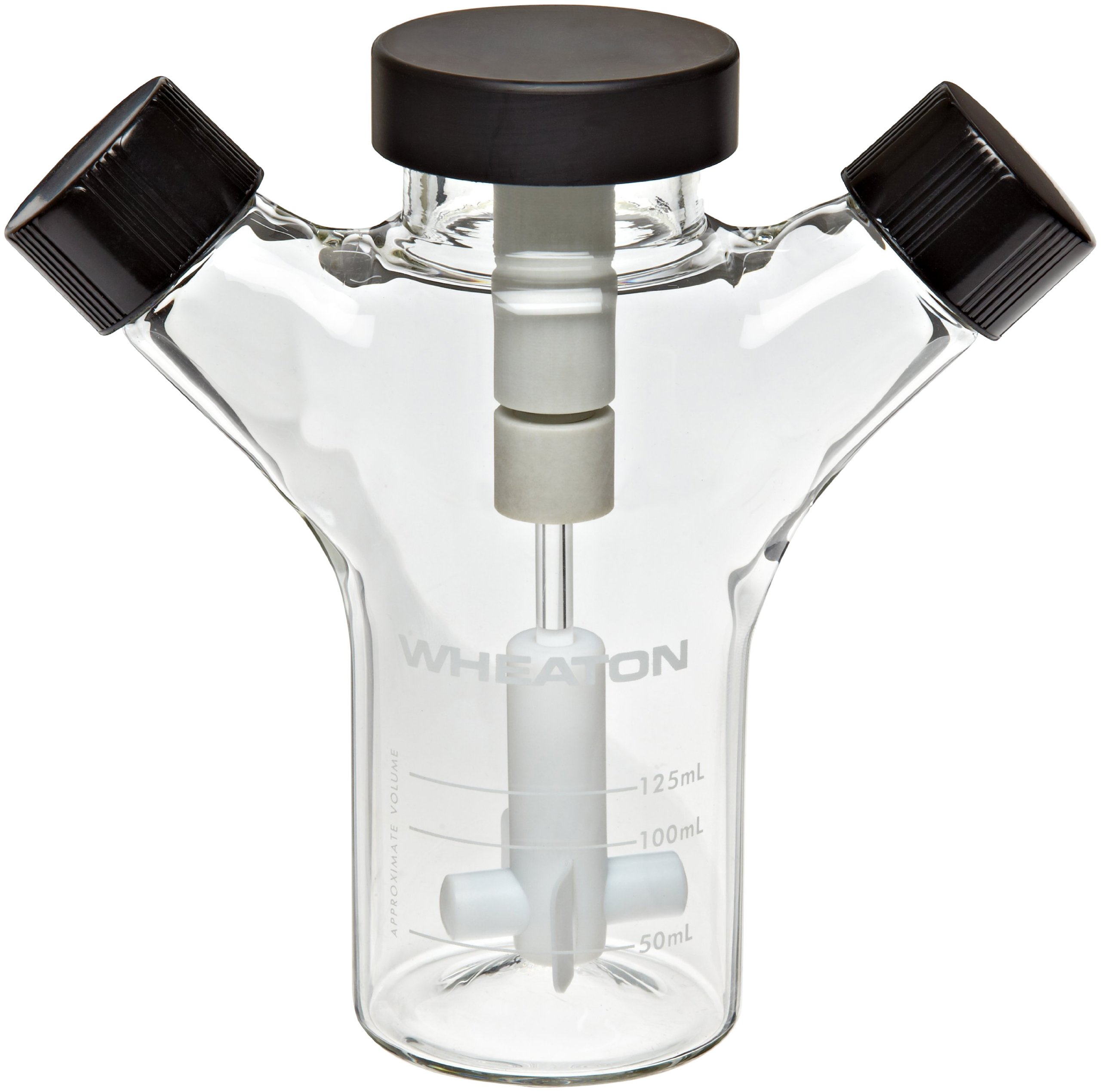 Wheaton 356876 Glass 125mL Celstir Spinner Flask, with 33-430 Screw Caps, 65mm x 155mm
