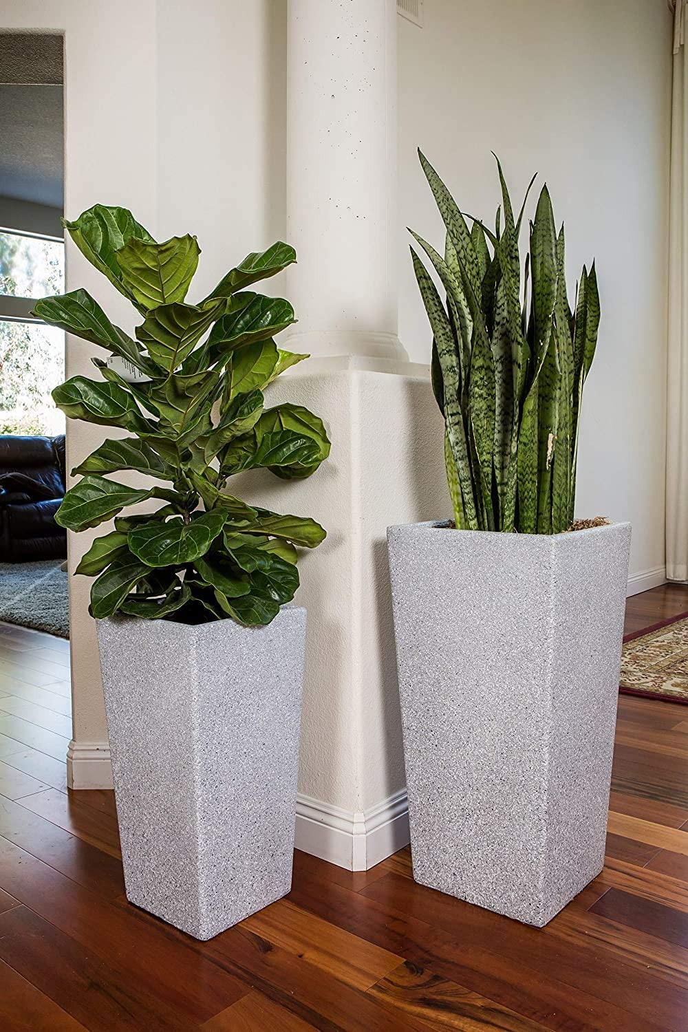 Amazon Com Xbrand Set Of 2 Different Sizes Modern Nested Tall Square Concrete Planter 29 Inch 24 Inch Grey Furniture Decor