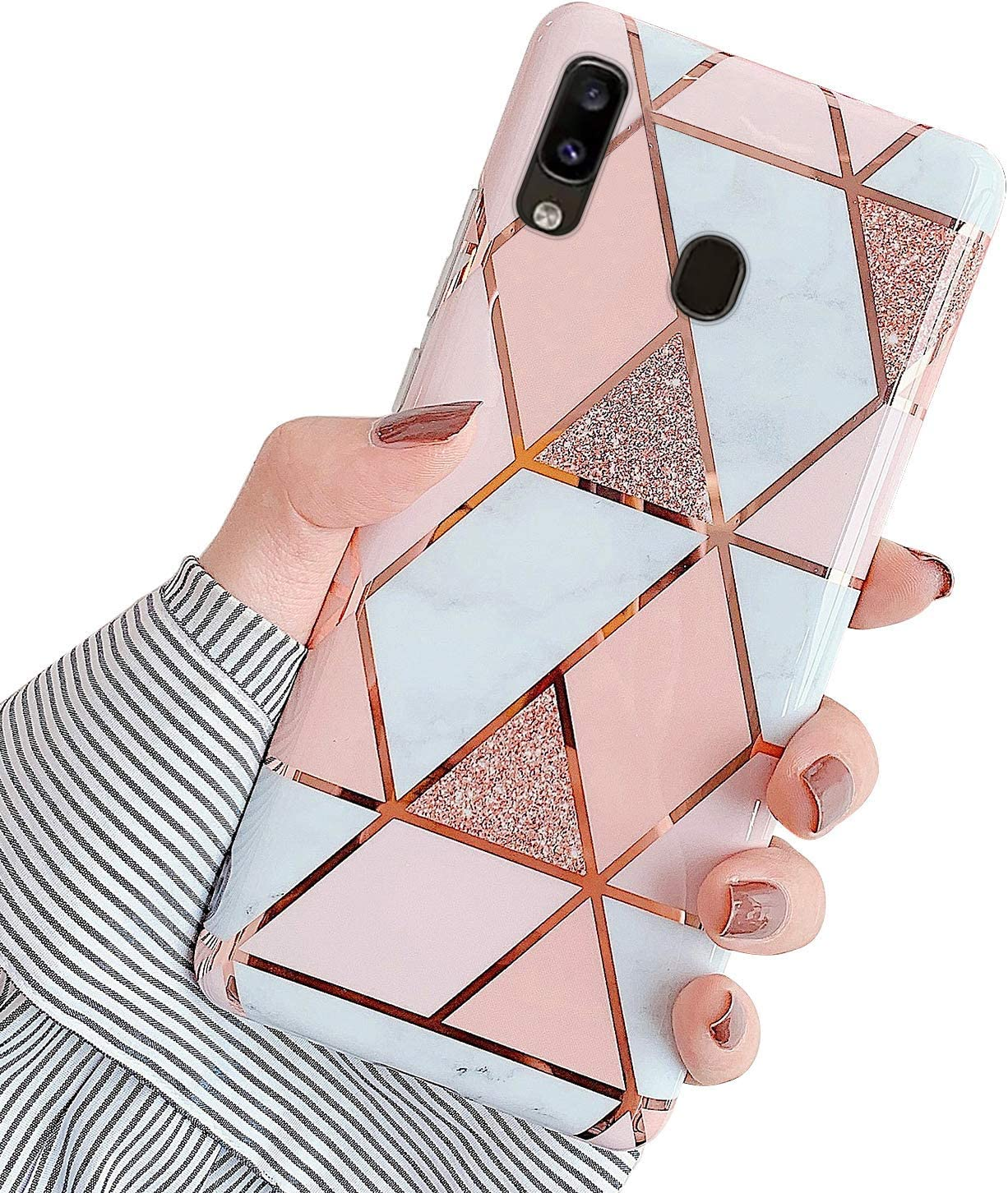 MoreChioce H/ülle kompatibel mit Samsung Galaxy A30//Galaxy A20 Marmor H/ülle Bling Glitzer Paillette Weich Silikon Handyh/ülle mit 360 Grad Ring St/änder Flexible Schutzh/ülle Transparent Bumper Schwarz