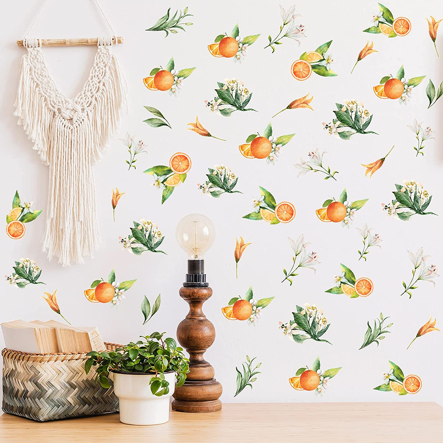 70 Pieces Nordic Tangerines Green Leaves Wall Decal Sticker Removable Fruit Plant Fresh Leaves Wall Decals Art DIY Vinyl Mural Wallpaper Home Decor for Kitchen Living Room Bedroom Kids Room