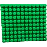 """Strictly Briks Beginner Briks Baseplate 12.5"""" x 15"""" by 100% Compatible with Mega Bloks First Builder Blocks   10X12 Large Pegs for Toddlers   Single Tight Fit Stackable Base Plate   Green"""