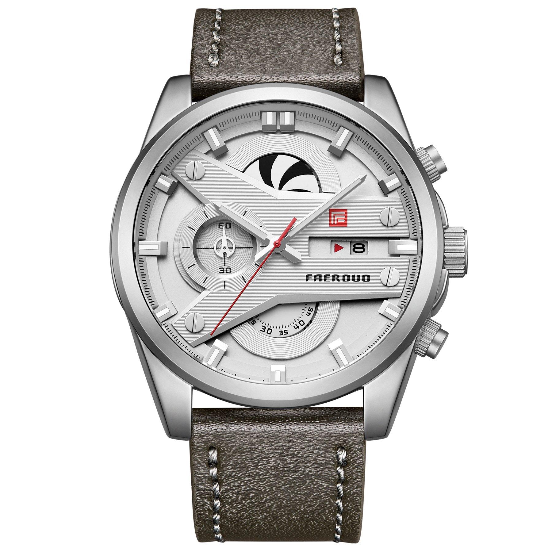 FAERDUO Reloj de los Hombres de Lujo Hombres Reloj Deportivo Ocasional Crongrafo Impermeable Fecha Pantalla Reloj