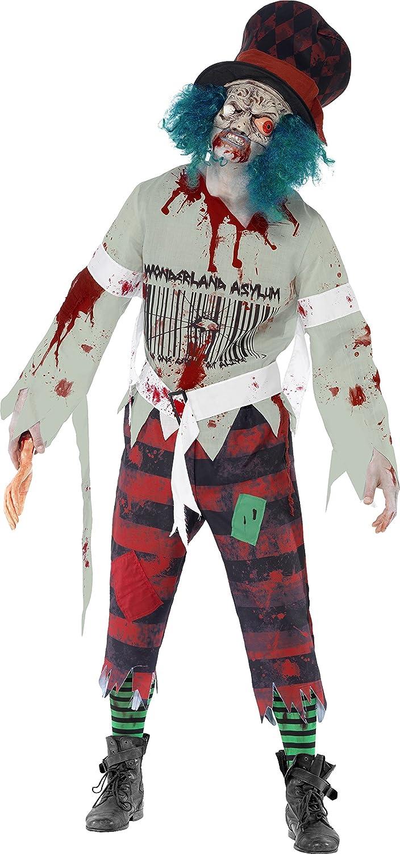 Smiffys, Herren Zombie-Hutmacher Kostüm, Maske mit angesetztem Hut, Oberteil und Hose, Größe: M, 40062