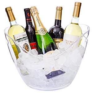 Ice Bucket Clear Acrylic 8 Liter Plastic Tub For Drinks and Parties, Food Grade, Holds 5 Full-Sized Bottles and Ice