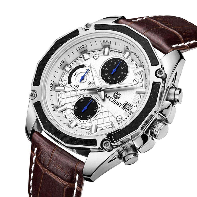 Megir Army Sport Brown Leather Wrist Watch for Men ML2015GBN-7 by Megir
