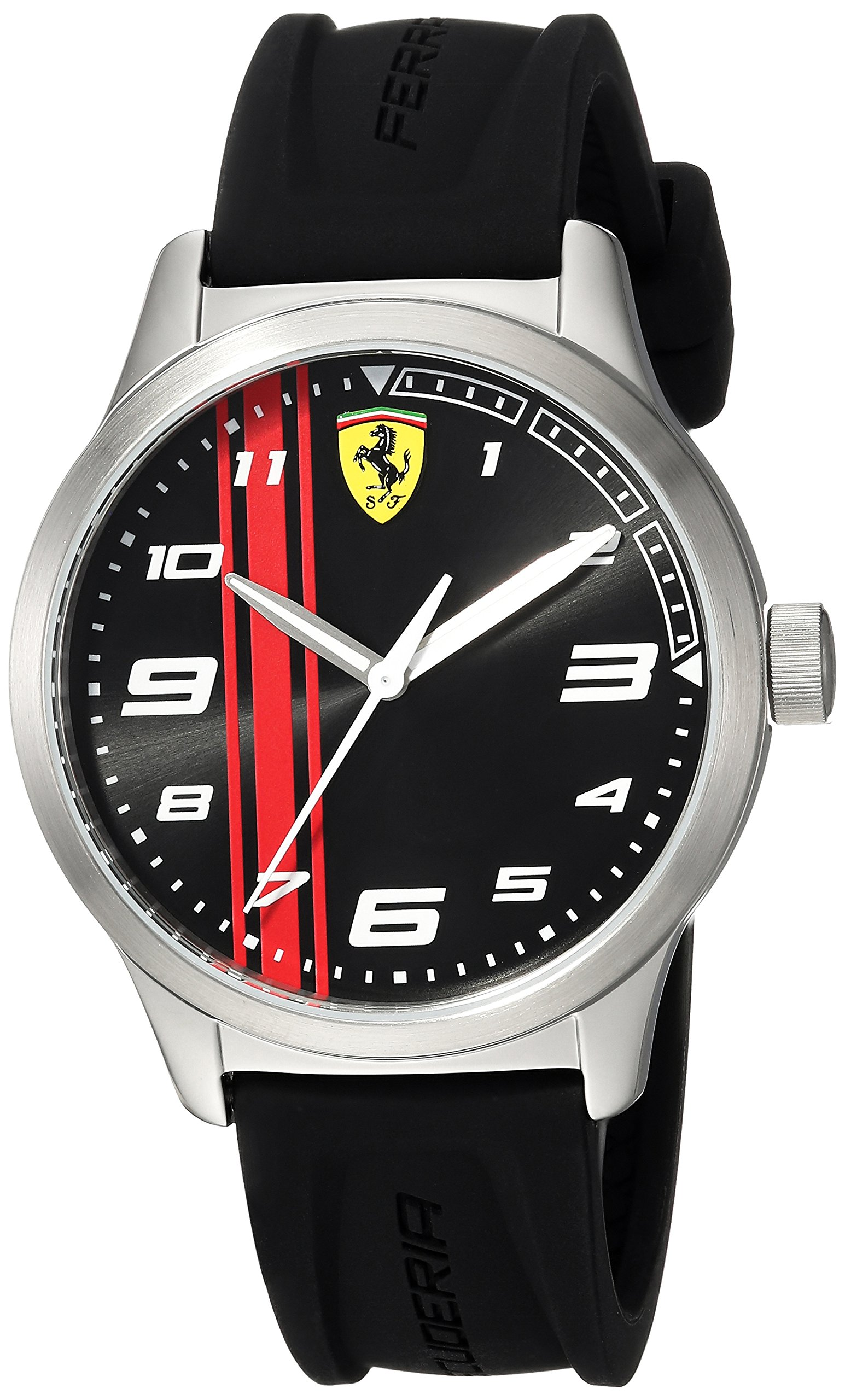 Ferrari Boy's 'Pitlane' Quartz Stainless Steel and Rubber Casual Watch, Color:Black (Model: 810015)