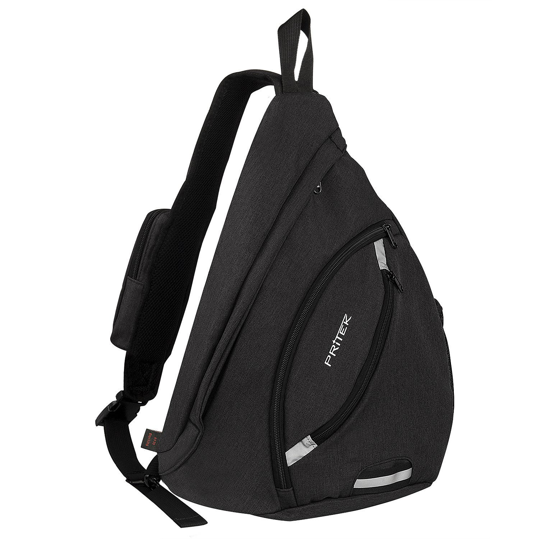 PRITEK Sling Backpack, Crossbody Bag Waterproof Ultralight Versatile Chest Daypack,Anti-Theft Over Shoulder Travel Rucksack Pack Backpack Hiking Camping Cycling Boys Men Women
