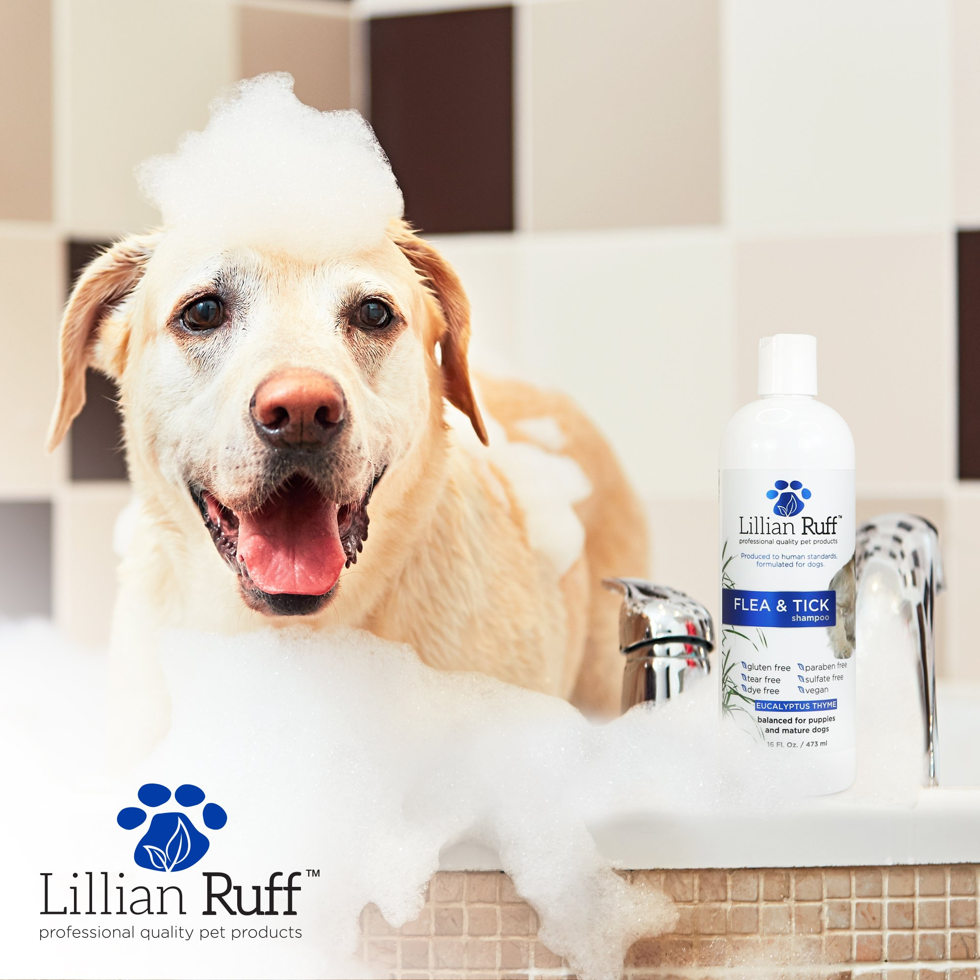 Lillian Ruff Flea and Tick Shampoo for Dogs with Aloe Vera - Soothe the Itch and Repel the Critters with Natural Essential Oils - Balanced for Puppies and Mature Dogs (16oz) by Lillian Ruff (Image #4)