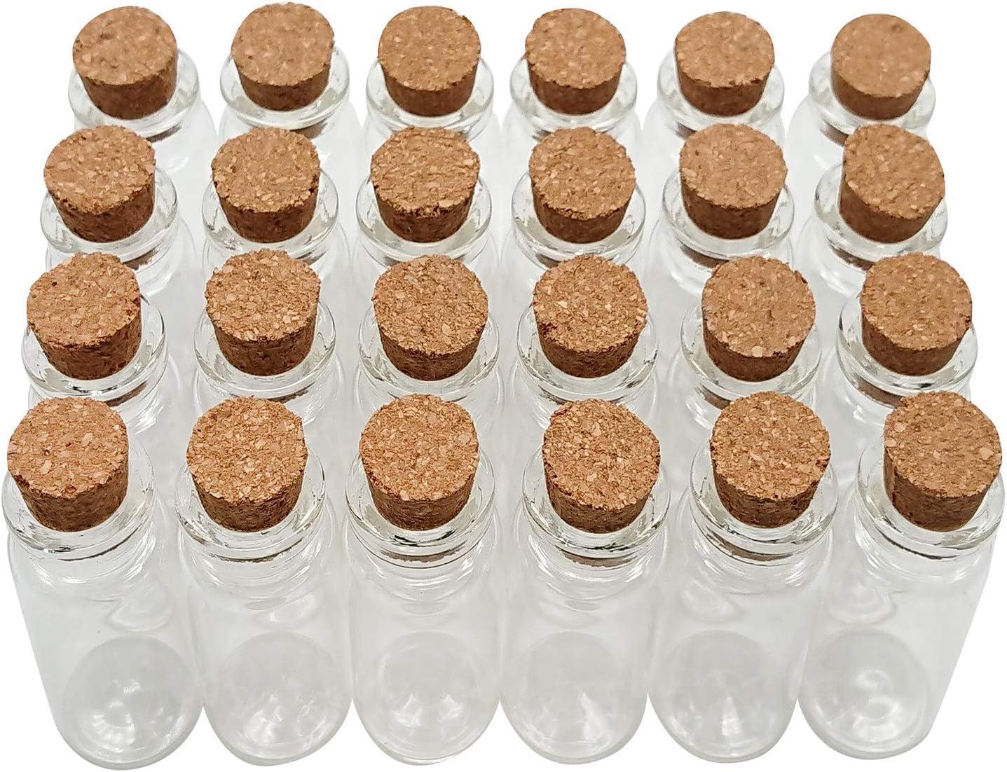 Axe Sickle 10 mL Cork Stopper Glass Bottles Mini Clear Glass Bottles 48 Pcs.